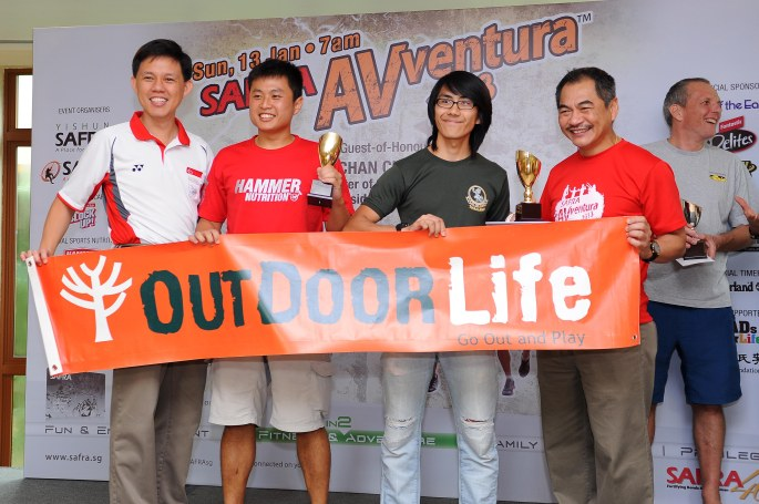 The official sponsor for Team Outdoor Life. Photo on stage with Chan Chun Seng and my Race Partner.