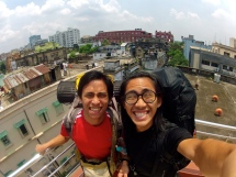 Cloud and I atop our hostel.