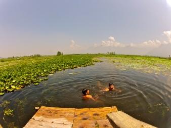 Kashmirin boys having fun in the Lake