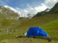 One of the many tents at the crowded Stok Kangri Base Camp