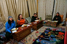 The team at the hotel having a traditional Ladakhi Dinner