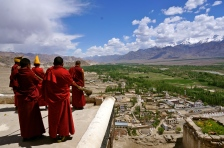 Thicksey Monastery and the monks calling for prayers