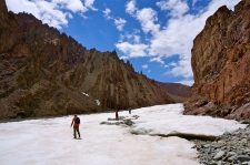 Crossing ice patches to reach base camp.