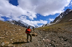 Nadya approaching base camp.