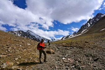 Nadya approaching base camp.