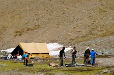 The team assembling tents. Who said expedition life would be easy?