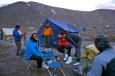 Trying on Crampons and and mountaineering equipment at Base Camp.