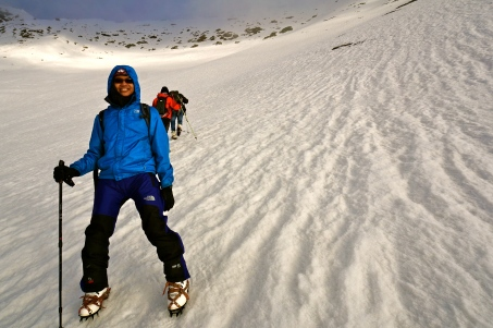 Zaf and I going up to the summit with impending weather.